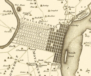 Philadelphia, c 1777. Southwark is the eastern region below the original planned grid of the city. Engraving by Will Faden